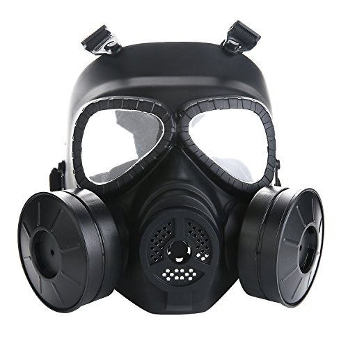 VILONG M04 Airsoft Tactical Protective Mask, Full Face Eye Protection Skull Dummy Game Mask with Dual Filter Fans Adjustable Strap for BB Gun CS Cosplay (Black mask-1)