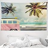 ABAKUHAUS Surfen Wandteppich & Tagesdecke, Retro Minivan on Beach, aus Weiches Mikrofaser Stoff Wand Dekoration Für Schlafzimmer, 230 x 140 cm, Mehrfarbig