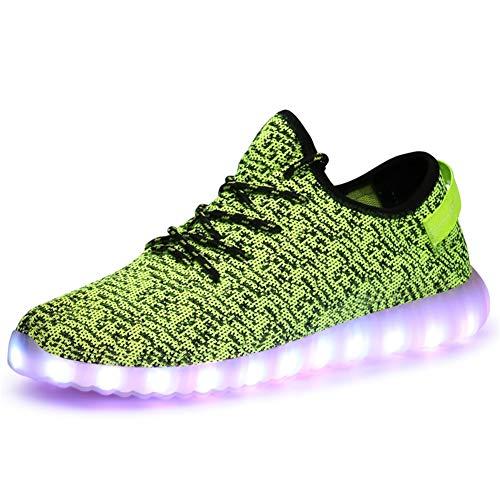 LZLHYH Luminous Shoes LED-Blitzschuhe Mit USB-Ladetrainer Atmungsaktives Mesh Lässige Unisex-Turnschuhe,Grün,43