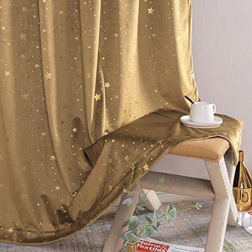 Jinchan Velvet Curtains for Living Room Bedroom Star Rod Pocket Drapes Star Foile Detail Christmas Decor Window Treatment Set 2 Panels Gold Brown 95 inch