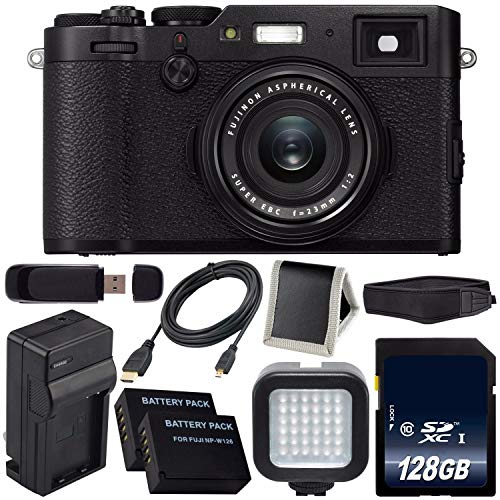 Fujifilm X100F Digital Camera (Black) International Model 16534651 + NPW-126 Replacement Lithium Ion Battery + 128GB SDXC Class 10 Memory Card Bundle