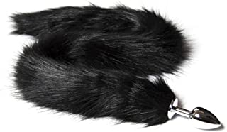 HSBHSJ Black Violet Artificial Tail Plug Blindfold Couple Game Metal Prop Fox Tail Plug Plush Love