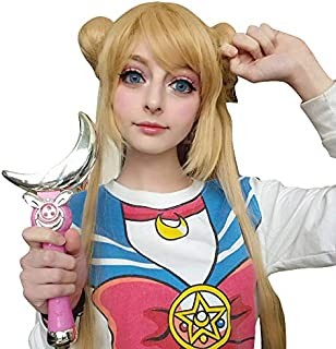Probeauty Long Wave Anime Cosplay Wig with Buns for Sailor Moon Tsukino Usagi