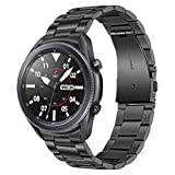 TRUMiRR No Gaps Band for Galaxy Watch 3 45mm Black, Solid Metal Stainless Steel Watchband Double Quick Release Strap Hand Detach Wristband for Samsung Galaxy Watch3 45mm (No Need Link Remover)