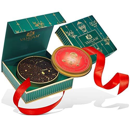 VAHDAM, tè natalizio Tin Caddy, puro al 100% - The Perfect Christmas Tea Blend, tè sfuso - Coltivato, confezionato e spedito direttamente dalla fonte in India - I migliori regali di Natale