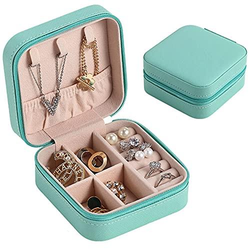 Tingz Joyero pequeño, almacenamiento de joyas de viaje, Joyero de cuero de PU Joyero, joyero para anillos, pulseras, pendientes, collar, regalo, - azul Tiffany