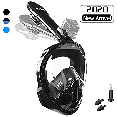 PHZ. Full Face Snorkel Mask,Advanced Safety Breathing System Allows You to Breathe More Fresh Air Anti Fog Anti Leak Foldable Snorkel Mask for Adult and Kids (Black, L)
