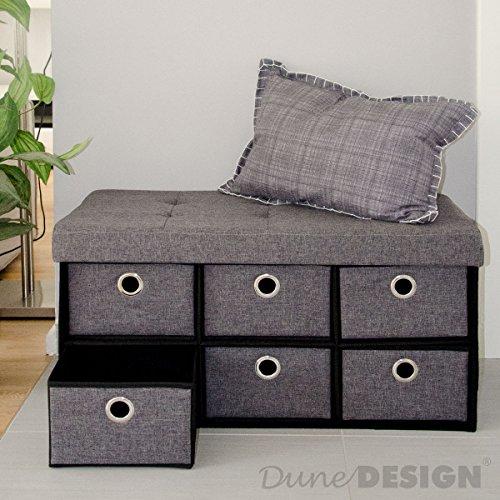 DuneDesign Faltbare Sitzbank 76x38x38cm inkl. 6 Schubladen Sitztruhe 80L Polsterbank Ottomane Leinen Dunkelgrau - 3