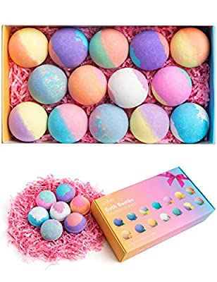 Bath Bombs, Anjou 14PCS Bath Bomb Gift Set with Natural Essential Oils, Perfect for Moisturize Skin & Bubble Bath, Ideas for Moms, Women, Kids, Her