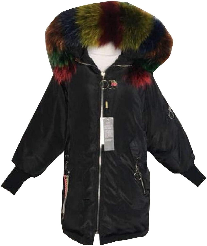 Desolateness Womens Hoodie Padded Embroidery Full Zipper Midi Puffer Down Jackets