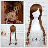 ACBIC muñeca Annabelle Cosplay peluca 65cm marrón pelo sintético recto Perucas Cosplay peluca The Co...