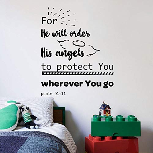 His Angels Psalm 91:11 Baby Children Family Quote Quotes Wall Sticker Art Decal for Girls Boys Room Bedroom Nursery Kindergarten Fun Home Decor Stickers Wall Art Vinyl Decoration Size (20x18 inch)