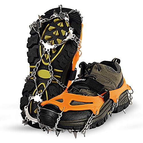 Unigear Traction Cleats Ice Snow Grips with 18 Spikes for Walking, Jogging, Climbing and Hiking (Orange, Medium)