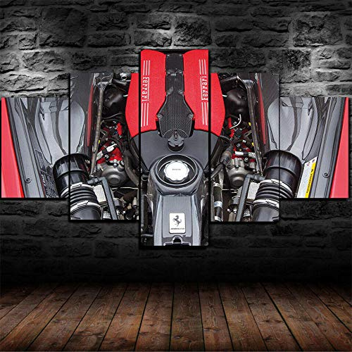 QZWXEC Ferrari V8 biturbo de 3.9 litros/Cuadro sobre Lienzo 5 Piezas - Modernos DecoracióN de Pared Hogar Arte De Cartel - Ancho: 150Cm, Altura: 80Cm - Listo para Colgar - En Un Marco