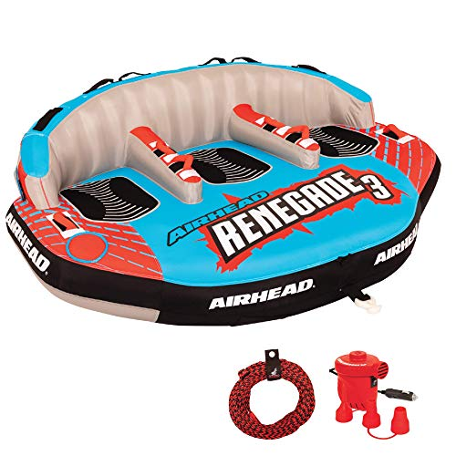 Airhead AHRE-503 Renegade Big 3 Person Inflatable Towable Water Tube Seat Rider Boating Tubing Kit with Boat Pull Rope and Pump for Kids and Adults