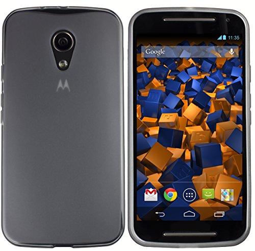mumbi Hülle kompatibel mit Motorola Moto G2 Handy Hülle Handyhülle, transparent schwarz