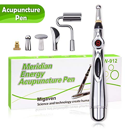 5-in-1 Acupuncture Pen, Electronic Acupuncture Pen Meridian Therapy Machine Energy Pens Massager Relief Pain Tools with 5 Massage Heads 9 Levels
