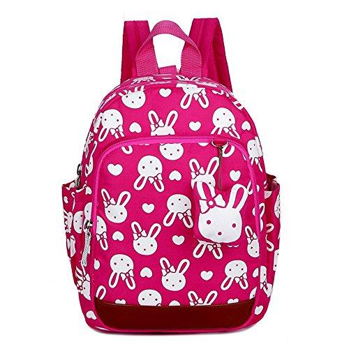 MCUILEE Niedlich Tier Hase Baby Rucksack Kinderrucksack Kleinkind Mädchen Kindergartenrucksack Backpack mit Sicherheit Geschirre Zügel,Rose Rot