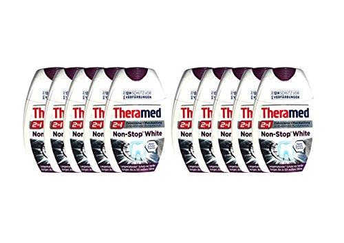 10x Theramed Non-Stop White Antibakterieller-schutz 2 in1 Zahncreme Mundspülung