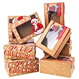 Moretoes Christmas Doughnut and Cookie Gift Boxes Treat Boxes with Clear Window Brown Kraft with...