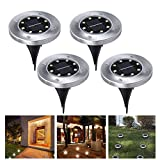 4PCS 8 construcción en LED Energía Solar Buried Ground Lights al aire libre, Wireless Solar Security Dusk to Dawn Night Light, Solar Powered Path Lights