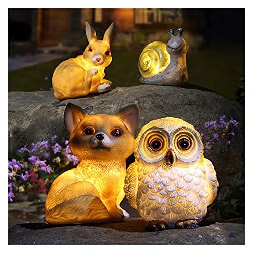Luces solares jardín al aire libre resina jardín perro búho conejo caracol liderado luces de jardín al aire libre estaca impermeable 4pack