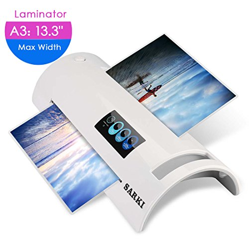 A6/A4/A3 Thermal Laminator, Laminating Machine with Two Roller System and Jam-Release Switch, Fast Warm-up, Quick Laminating Speed, for Home, Office and School (Laminator A3-White)