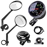 """Lomodo 4 Pieces Bike Accessories Including 2 x Bicycle Rear View Mirrors 1 x Classical Old School Style Bike Speedometer Analog Odometer and 1 x Aluminum Cycling Bell for 24""""-27.5"""" Bicycle"""