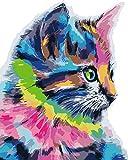 KXGZ Set De Bricolaje para Pintar 40*50cm Niños para DIY Pintura para Pinceles Y Colores Decoraciones para El Hogar Juego De Pintura Acrílica -Gato Animal De Color