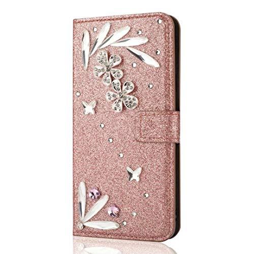 Funda Xiaomi Poco X3 NFC, con purpurina y plumas brillantes, de piel sintética, con hebilla de diamante y absorción de golpes, delgada, con función atril, cierre magnético, oro rosa