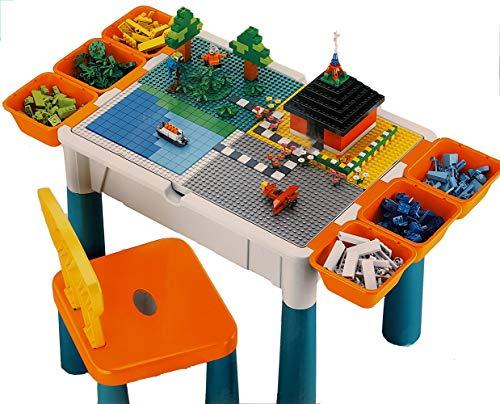 Brigamo - Juego de mesa de juego 3 en 1 con 4 placas integradas para bloques de construcción y sillas