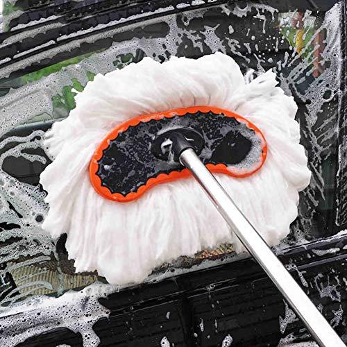Romdink Autowaschbürste Langen Griff Teleskopisch Polyester Baumwolle Weicher Pinsel Wird Autofarbe Nicht Verletzen, Autowaschbürste KFZ für die Autowäsche