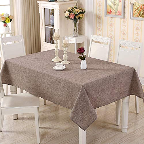 GTWOZNB Plastic Table Cloth With Retro Polkadot Plain style rectangle-brown_140X160CM