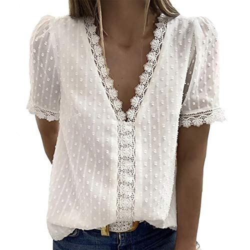 YANFANG Blusas de Mujer Elegantes,Camiseta Casual de Manga Corta con Encaje de Moda para Mujer Top de Color sólido con Cuello en V, XL,White