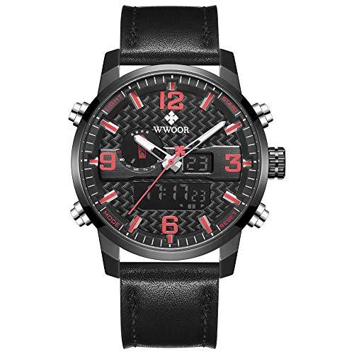 Reloj de Cuarzo analógico de Acero Inoxidable japonés para Hombre con Correa de Acero Inoxidable -B