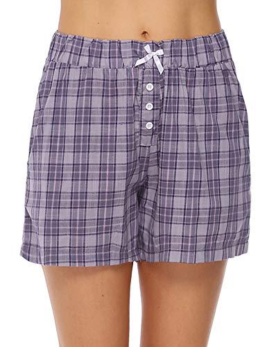 Aibrou Pantalones de Pijama Corto para Mujer Pantalon de Algodón Verano a Cuadros