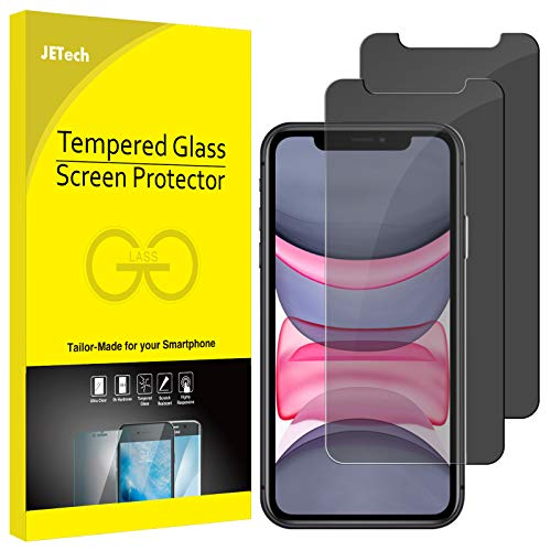 "JETech Protection Écran Compatible avec iPhone 11 et iPhone XR 6,1"", Film de Protection en Verre Trempé, Anti-Espion, Lot de 2"