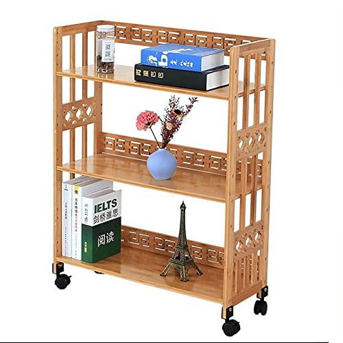 LICHUAN Estantería de bambú de pie para el suelo, organizador de almacenamiento multifuncional para sala de estar, dormitorio, oficina (color: A)
