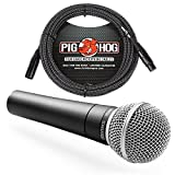 Shure SM58 Cardioid Vocal Microphone & Pig Hog Mic Cable, 20ft XLR - Bundle (Black)