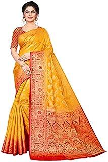Neerav Exports Banarasi Soft Silk Saree (Yellow)