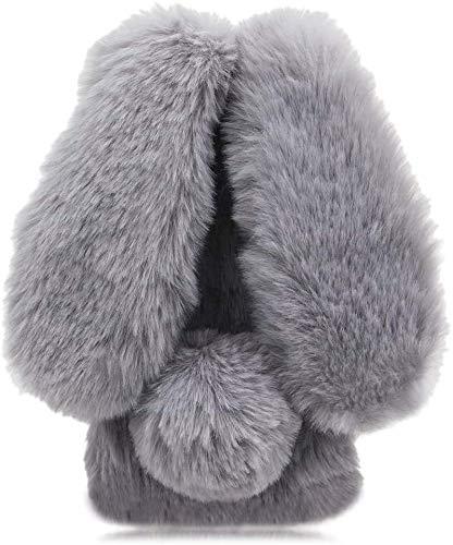 Pumbiiky Plüsch Hülle für Meizu 15 Plus Süße Hasen Ohren Fell Flauschige Kaninchen Haar Weicher bequemer Stoßfest Schützend TPU Hülle,Hellgrau