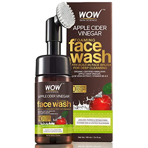 WOW Skin Science Apple Cider Vinegar Foaming Face Wash - with Organic Certified Himalayan Apple Cider Vinegar - No Parabens, Sulphate, Silicones & Color (with Built-in Brush)