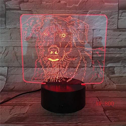 Bulldog Poodle Jack Russell Terrier Rottweiler Dobermann Luz de ilusión visual 3D Luz nocturna para niños Luz tipo perro AW-800