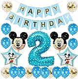 Mickey Globos, Decoración de Globo Azul de 2er Cumpleaños, Mickey Themed Party Decorations Supplies 2rd Birthday Decoracion Cumpleaños 2 Año Bebe Niño