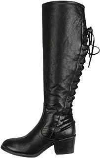 comprar comparacion ZODOF Botas Planos Alto Top de Medieval Style para Mujer Botas Altas de tacón Alto de Cuero de Moda de Mujer Botas Altas d...