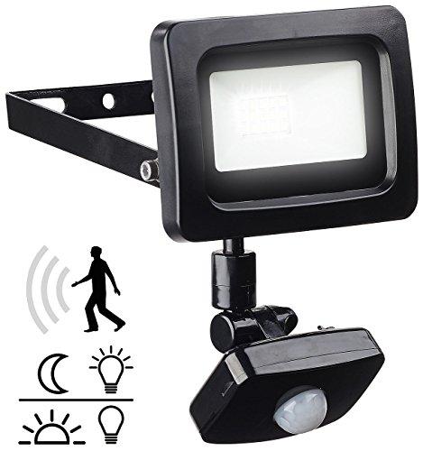 Luminea Aussenlicht: Mini-LED-Fluter, PIR-Sensor, 10 Watt, 800 lm, tageslichtweiß, IP44 (Aussenstrahler mit Bewegungsmelder)