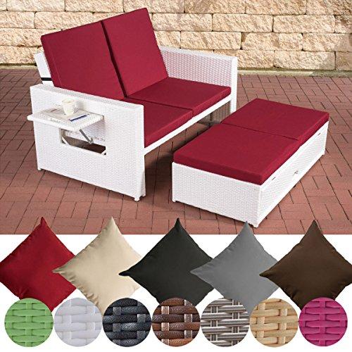CLP Polyrattan 2er Loungesofa Ancona I Flachrattan Garten-Sofa mit ausziehbarem Fußteil und Verstellbarer Rückenlehne Rattan Farbe weiß, Stärke 1,25 mm, Bezugfarbe: Rubinrot