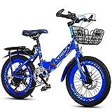 CHHD Bicicletta Pieghevole per Bambini, Maschio e Femmina 6-10 Anni, 18 Pollici 20 Pollici 22 Pollici Freno a Doppio Disco 6 velocità Mountain Bike, Biciclette per Studenti Adatte per a