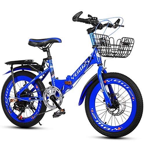 CHHD Klapprad für Kinder, männlich und weiblich 6-10 Jahre, 18 Zoll 20 Zoll 22 Zoll Doppelscheibenbremse 6-Gang-Mountainbike, Studentenfahrräder geeignet für eine Höhe von 110-130 cm