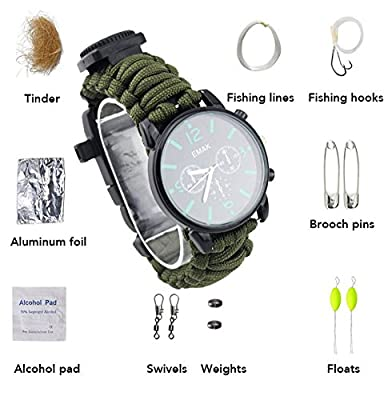 ASTRO 16 in 1 Paracord rope with watch bracelet and firestarter stainless scraper and whistle and compass multifunction outdoor survival kit 7 strand)